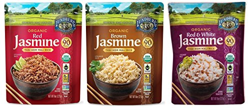 Lundberg Organic Thai Hom Mali Rice 3 Flavor Variety Bundle, (1) Each: Red, Brown, and Red & White, 8 Oz Ea