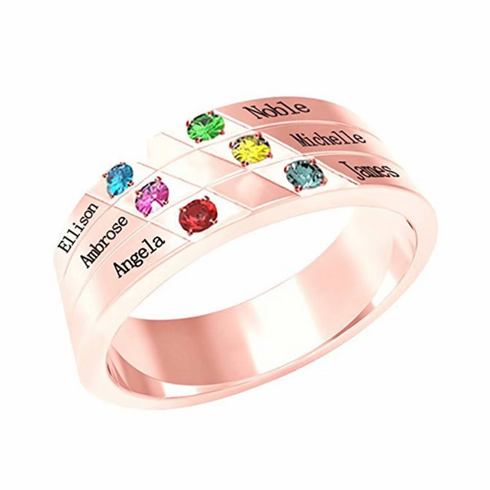 Personalized Family engraved name ring 6 birthstones carving 6 names