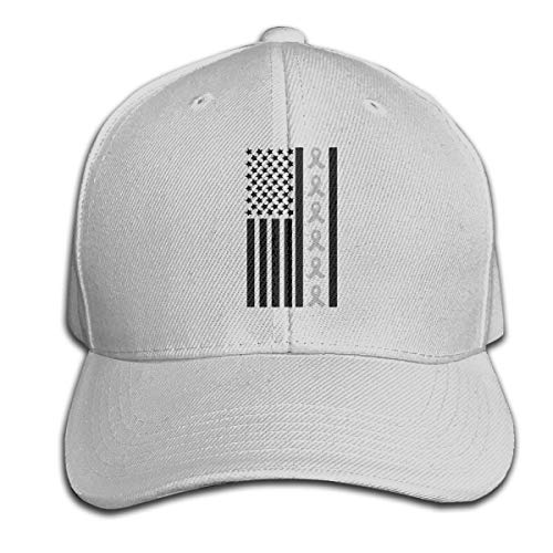 Breathable Trucker Hat for Mens and Womens, Ribbon Flag Brain Cancer Awareness Ribbon Awareness Cotton Cricket Cap Gray
