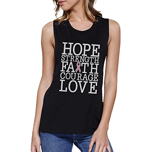 Taille Breast Manche Cancer 365 Pull Love Hope Strength Printing Faith Sans Unique Noir Femme Yw4Ugqw