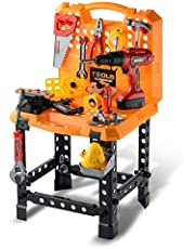 Toy Choi's Kids Toy Standard Workbench Play Set, Toddler 82 Pieces Pretend Play Series Toy Tool Construction Work Shop Kit Bench with Drill Preschool Best Birthday Gift for Boys and Girls