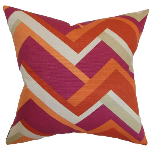 The Pillow Collection Hoonah Geometric Pillow, Mango