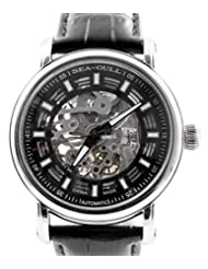 Seagull Skeleton Black Unisex Automatic Watches Genuine Leather 819.338K by Seagull