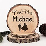 KISKISTONITE Wooden Wedding Cake Toppers Rustic, Personalized Running Bride and Groom Design, Engraved Mr and Mrs Country Style Cake Decoration Favors Party Decorating Supplies
