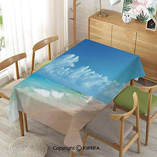100% Polyester Tablecloths for Rectangle Tables,Tropical Seacoast Wavy Ocean Fluffy Clouds on Horizon Summer Holidays Scenery,Waterproof Stain-Resistant,Blue Turquoise,55
