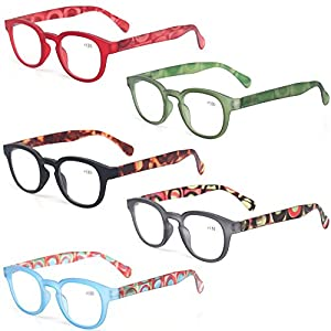 Reading Glasses Fashion Men and Women Readers Spring Hinge with Pattern Design Eyeglasses for Reading (5 Pack Mix Color, 1.25)