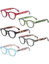 Reading Glasses 5 Pack Unisex Fashion Spring Hinge with...