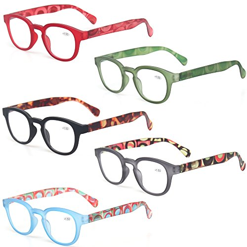 Reading Glasses Fashion Men and Women Readers Spring Hinge with Pattern Design Eyeglasses for Reading (5 Pack Mix Color, 0.75)