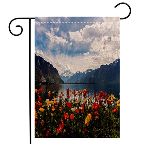 - BEIVIVI Custom Double Sided Seasonal Garden Flag Beautiful View on The Alps Mountains and Lake Leman Welcome House Flag for Patio Lawn Outdoor Home Decor