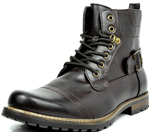 Bruno Marc Men's Philly-5 Dark Brown Military Combat Boots - 10 M US