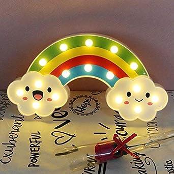 AIZESI Regenbogen LED Lampe Licht Neon Applique Regenbogen Deko Licht Bunte Nachttisch Beleuchtung Zimmer Lichter Dekor Schlafzimmer Kinder Baby Dekorationen(Regenbogen)