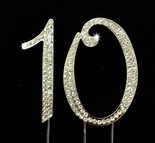 10th Birthday Wedding Anniversary Number Cake Topper with Sparkling Rhinestone Crystals - 2.75