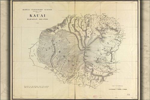 24x36 Poster; Map Of Kauai, Hawaii, 1903; Antique Reprint ()