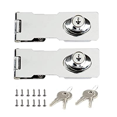 Heavy Duty Hasp and Staple with Screws Door Clasp Gate Lock Shed Latch Padlock Staple for Door Window Cabinet Pet Cage Crate 3 inch 2 Pack Stainless Steel Padlock Hasp
