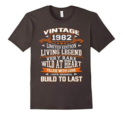 Mens Vintage 1982 Tee Funny 35 Years Old 35th Birthday Gift T-shi Medium Asphalt (Best Gift For 35 Year Old Man)