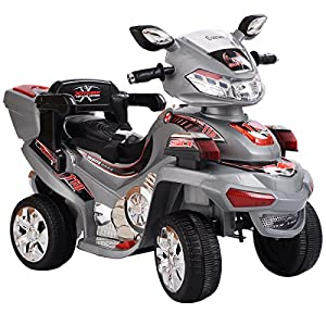 Gray Kids Ride On Car 6V Motorcycle 4 Wheels Battery Powered Electric Bicycle Toy