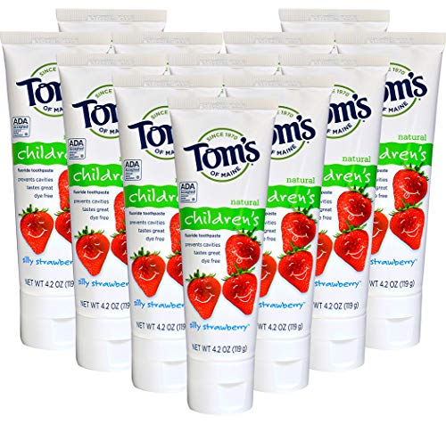 Tom's of Maine Anticavity Fluoride Children's Toothpaste, Silly Strawberry, 4.2-Ounce (Pack of 12)