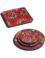 Ranmeli Ceramic Dinnerware Sets - Red Floral Dishes Set for 4