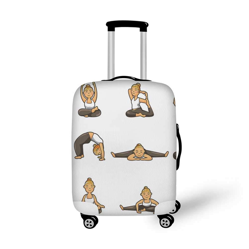 Yoga Stylish Luggage Cover,Doodle Style Women Figures Various Exercise Poses Workout Health Lifestyle Bodycare for Luggage,L 26.3W x 30.7H