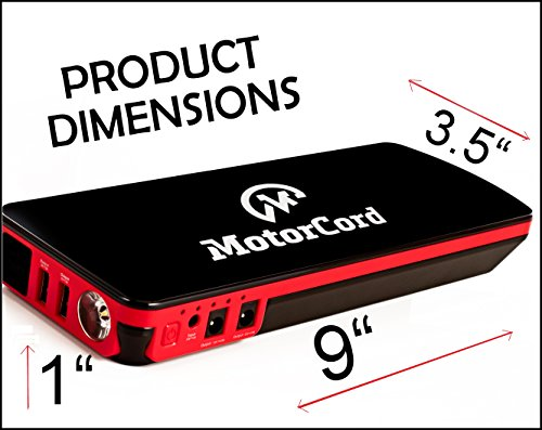 MotorCord 18,000Mah Multi-Functional Super Power Car Jump Starter, High 600A Peak Current  With LED Flashlight, Adapters & Clamps by MotorCord (Image #2)