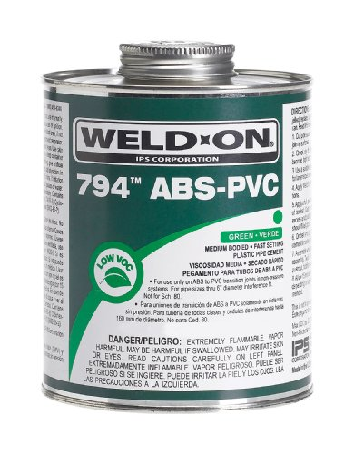 Pvc Primer (Weldon 13369 Green 794 Medium-Bodied Transition Abs To Pvc Plumbing Cement Fast-Setting Low-Voc 1/4 Pint Can With Applicator Cap, Green)