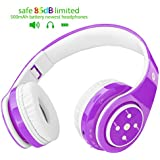 2018 NEW! Bluetooth headphones for kids, 85db volume limited, up to 6-8 hours play, Stereo Sound, SD Card Slot, Over-Ear and Build-in Mic Wireless/Wired headphones for boys girls(Purple)