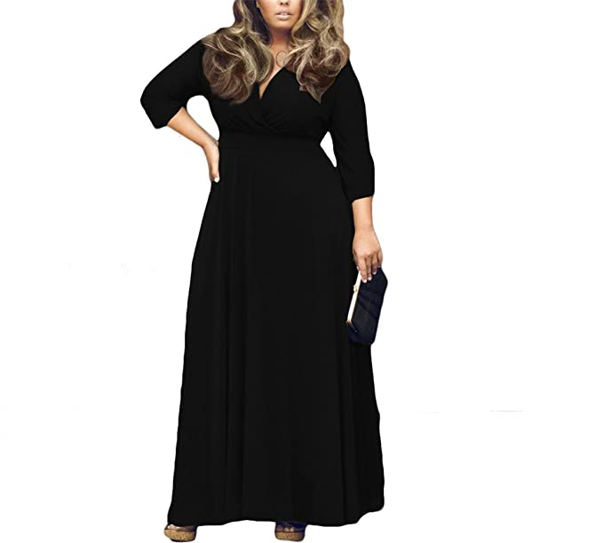5f1205ea181 ONCEGALA Women's Solid V-Neck 3/4 Sleeve Plus Size Evening Party ...