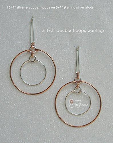 - GemsBeautique Elegant & Unique Large Double Hoops. Silver & Copper. 2 1/2