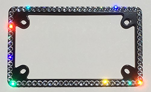 Cool Blingz 1 Row Motorcycle Crystal License Plate Black Frame Rhinestone Bling with Swarovski Crystals -  SWMC1Crys34B