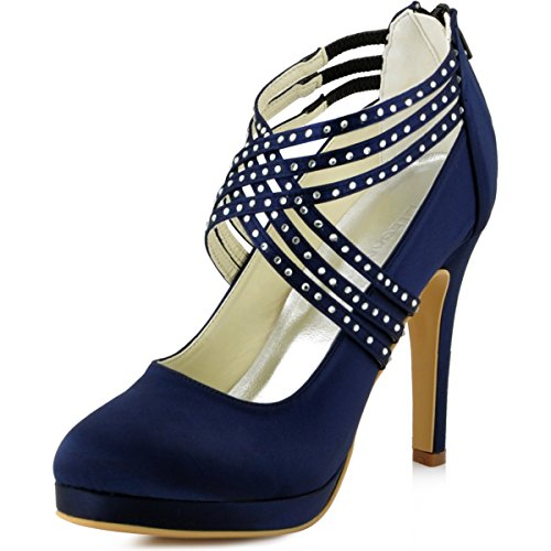 ElegantPark Women High Heel Pumps Closed Toe Platform Strappy Satin Evening Prom Dress Wedding Shoes Navy Blue free shipping pay with paypal fast delivery classic for sale big discount prices cheap online aJag2M3pm