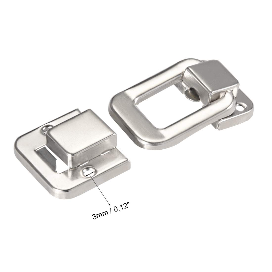 48mm Retro Decorative Silver Hasp w Screws for Suitcase Chest Trunk Latch Clasp uxcell Toggle Catch Lock Pack of 2
