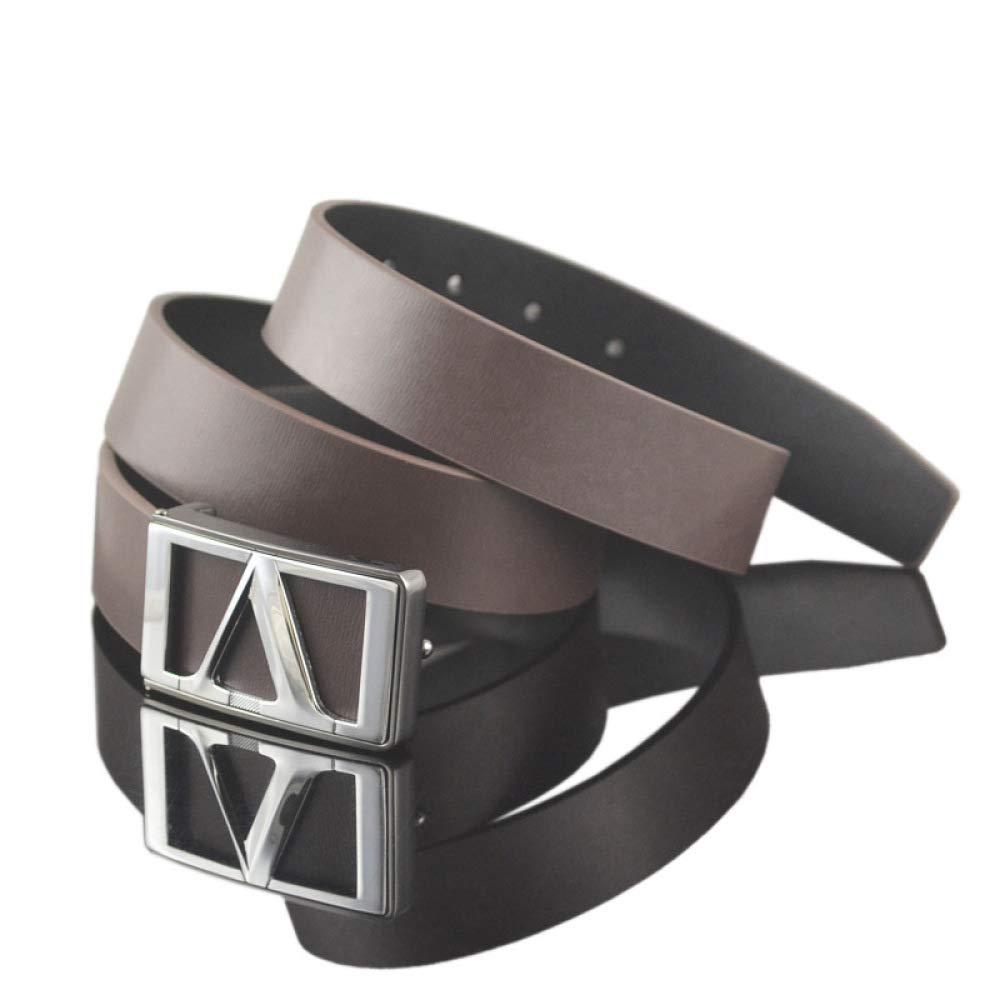 DENGDAI Belt Mens Youth Belt Smooth Buckle Leather Belt Length 110-135cm