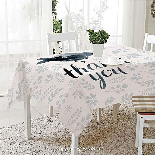 FashSam Tablecloths 3D Print Cover Big Chubby Cute Bird with Water Color Like Thank You Quote and Leaves Art Party Home Kitchen Restaurant Decorations(W60 xL104)