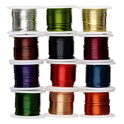 Zebra Wire Colored Copper Wire for Wire Wrapping 12 Pack 24 Gauge 5 Yards of Each - Purple Copper And