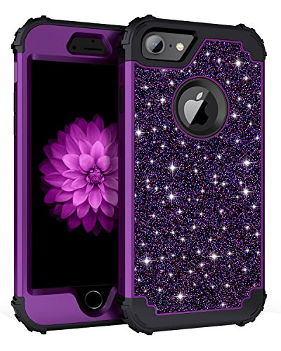- Casetego Compatible iPhone 8 Case,iPhone 7 Case,Glitter Sparkle Bling Three Layer Heavy Duty Hybrid Sturdy Armor Shockproof Protective Cover Case for Apple iPhone 8/7,Shiny Purpl