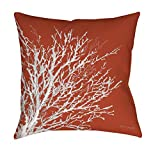 Manual Woodworkers & Weavers Square Throw Pillow, 16-Inch, Coastal Coral, Rust