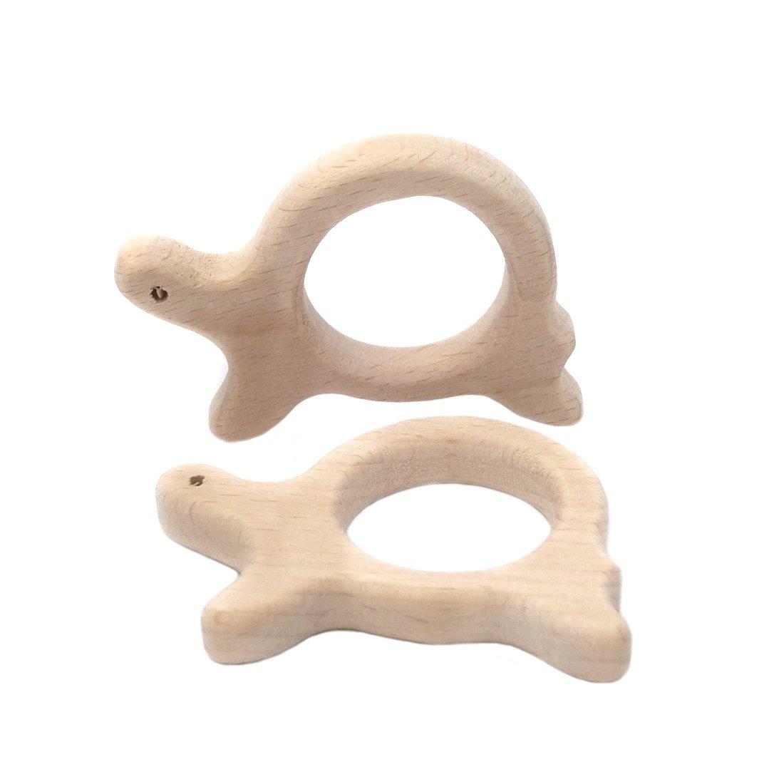 Coskiss 2pcs El caracol de madera / tortuga Colgante Mordedor ...