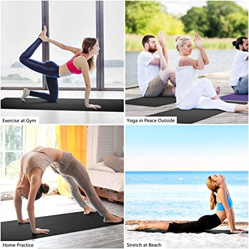 Dralegend Yoga Mat Exercise Fitness Mat - High Density Non-Slip Workout Mat for Yoga, Pilates & Exercises, Anti - Tear, Sweat - Proof, Classic 1/4 Inch