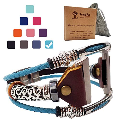 Smatiful Ionic Watch Bands with Box Set for Women (not for Kids), Adjustable Replacement Leather Watch Band for Fitbit Ionic, Mediterranean_Blue