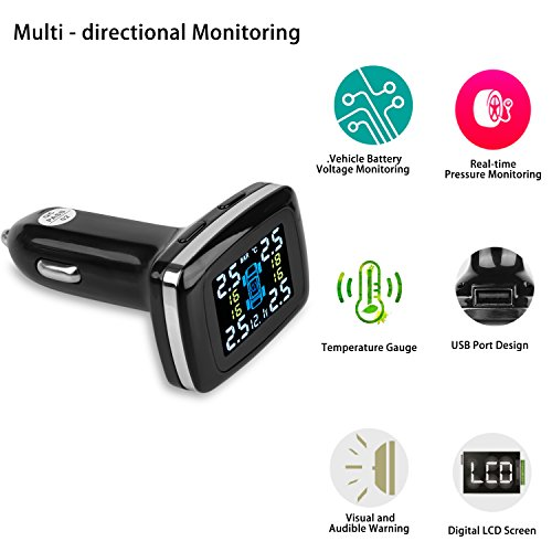 B-Qtech Wireless TPMS Tire Pressure Monitoring System with TPMS 4 Sensors and USB Charging Port for Real-time Display of Temperature and Pressure LCD Display and Alarm Function