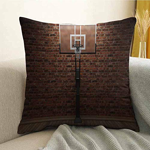 FreeKite Microfiber Sofa Cushion Cover Bedroom car Decoration Old Brick Wall and Basketball Hoop Rim Indoor Training Exercising Stadium Picture W16 x L16 Inch Brown]()