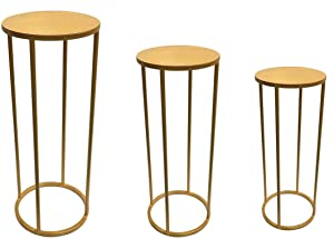 Koyal Wholesale Metal Stand for Wedding Centerpiece, Ceremony Aisle Decor, Home Decor (Gold, Round Set of 3)