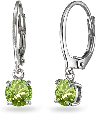 Sterling Silver 6mm Round Bezel Dangle Leverback Earrings Made with Swarovski Crystals