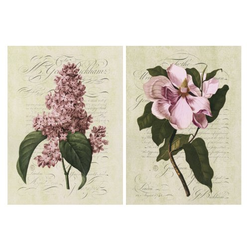 NAVA 2pcs Painting Pale Violet Hyacinth Flower Flora Art Decor