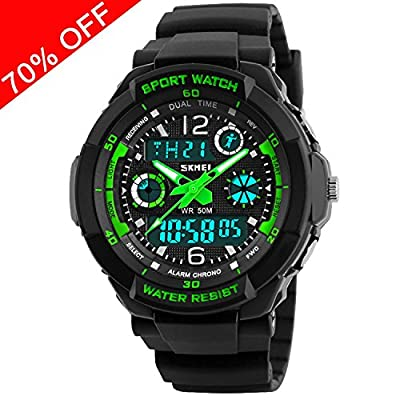 Kid Watch Multi Function Digital LED Sport 50M Waterproof Electronic Analog Quartz Watches for Boy Girl Children Gift by Viliysun