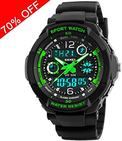 Viliysun Child Watch Multi Function Digital LED Sport Waterproof Electronic Quartz Watches for Boy Girls Kids Gift Green