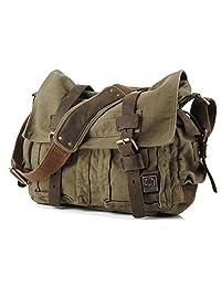S.C.Cotton Leisure Vintage Canvas Leather Shoulder Messenger Bag Satchel School Bag Purse Durable Strap