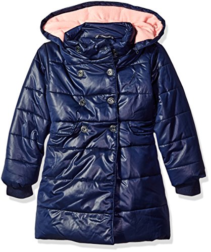 Nautica Little Girls Heavy Weight Jacket with Removable Hood, Navy, 4