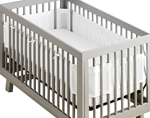 BreathableBaby Deluxe Breathable Mesh Crib Liner – White Ruffle