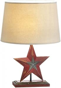 Accent Plus FARMHOUSE RED STAR TABLE LAMP